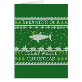 Grande carte laide drôle de chandail de Noël blanc