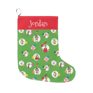 Grande Chaussette De Noël Le motif de point de Noël de Grinch |
