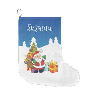 Grande Chaussette De Noël Noël nommé fait sur commande Père Noël