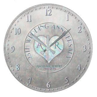 Grande Horloge Ronde Anniversaire de mariage argenté de monogramme de