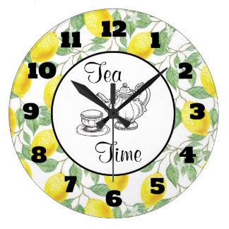 Grande Horloge Ronde Citrons jaunes avec du temps vert de thé de motif