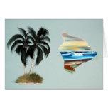 Grande peinture à l'huile d'île et de palmiers cartes de vœux