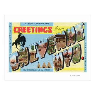 Grandes scènes de lettre, salutations de 2 cartes postales