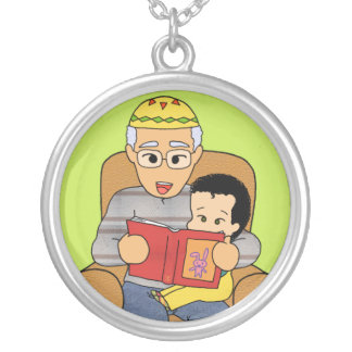 Grandfather and grandson silver plated necklace