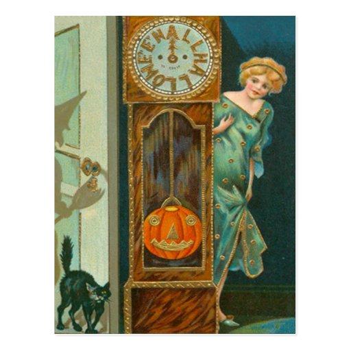 Grandfather Clock Black Cat Witch Pumpkin Postcard