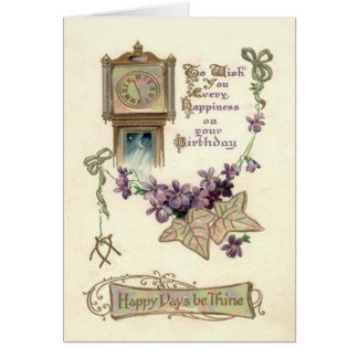 Grandfather Clock Forget-Me-Not Leaves Card