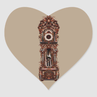 Grandfather Clock Heart Sticker
