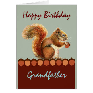 Grandfather from us NUTS  Humor Squirrel Art Greeting Card
