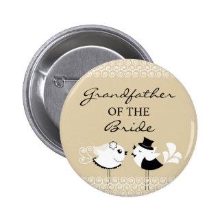 Grandfather of the Bride Birds Wedding Button