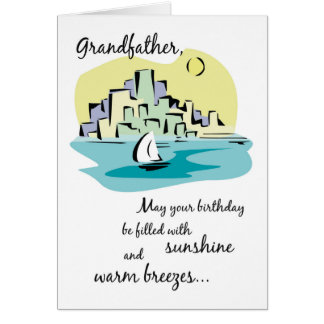 Grandfather Sailboat City Birthday Card