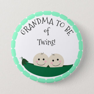 Grandm to be of Twins in Peapod Baby Shower button