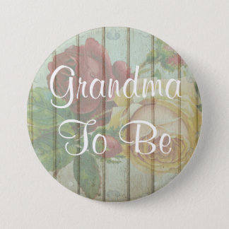 Grandm to be rustic Floral Wood Baby Shower Button