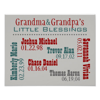 Grandma and Grandpa's Grandkids Names Birthdays Poster