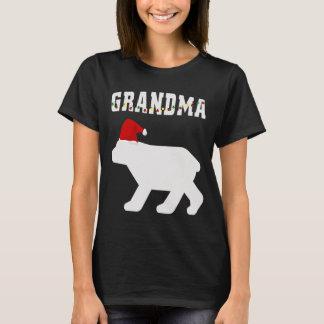 Grandma Bear With Satna Hat Christmas Pajama Match T-Shirt
