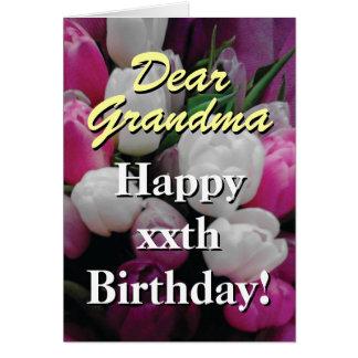 Grandma Birthday card | pink tulip flower bouquet