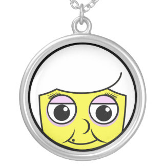 Grandma Face Silver Plated Necklace