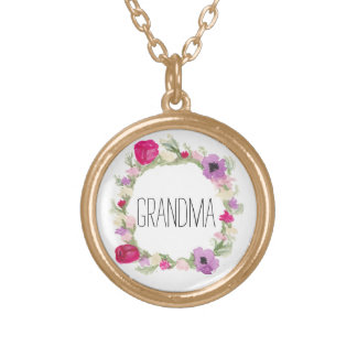 Grandma Floral Wreath Necklace Mother's Day Gift