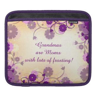 Grandma Grandmother Quote Flowers iPad Sleeve