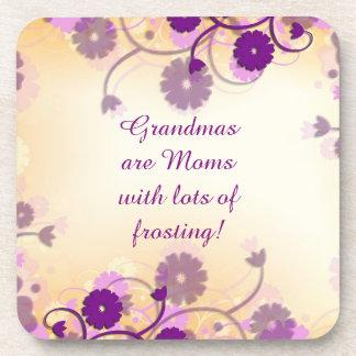 Grandma Grandmother Quote Mauve Flowers Coasters