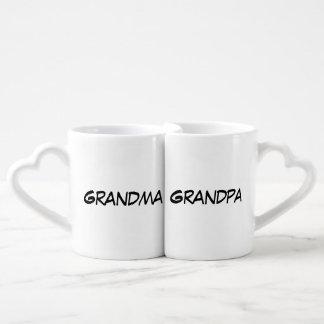 """Grandma/Grandpa"" Nesting Mug Set Couples' Coffee Mug Set"