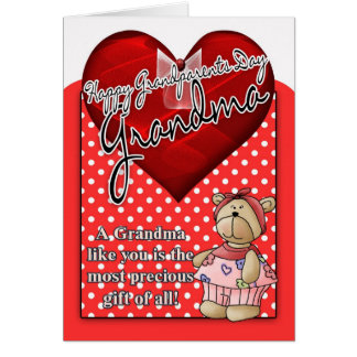 Grandma Grandparents Day Card - Red And White Polk