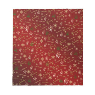grandma happy christmas in gold and red notepad