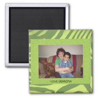 "GRANDMA: ""I Love Grandma"" Photo Frame Square Magnet"