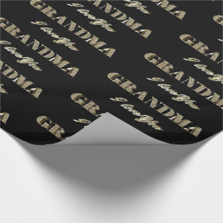 Grandma I Love You Black Gold Sparkles Typography Wrapping Paper