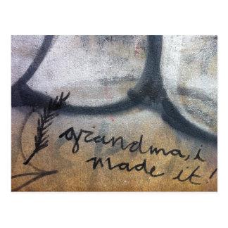 grandma, i made it! graffiti postcard