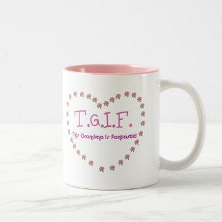 Grandma is Fantastic Heart Two-Tone Coffee Mug