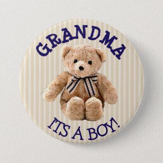 Grandma, Its a Boy Teddy Bear Baby Shower Button