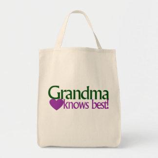 Grandma knows best grocery tote bag