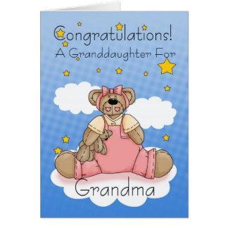 Grandma New Baby Girl Congratulations Greeting Card