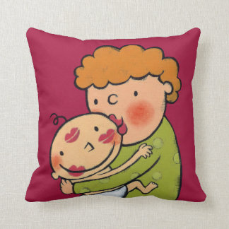 Grandma Pink Lipstick Kisses for Baby Throw Pillow