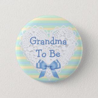 Grandma to be Blue & Orange Baby Shower Button