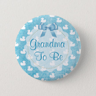 Grandma to be Blue Rubber Ducklings Button