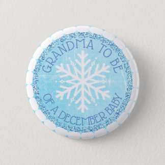Grandma to be Blue Winter December Baby Button