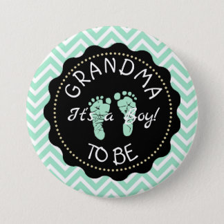 Grandma to be   Green Chevron Baby Shower button