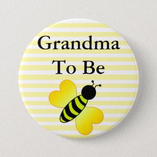 Grandma to Be Honey Bee Yellow Baby shower Button