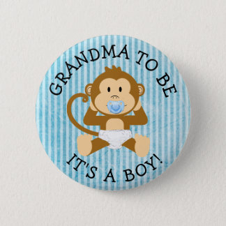 Grandma to be Its a Boy Monkey Baby Shower Button