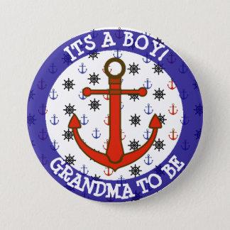 GRANDMA to be, Nautical Baby Shower button