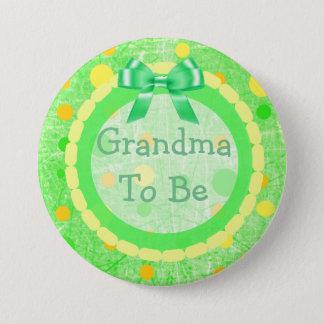 Grandma to be Orange Green Yellow Baby Shower Pin
