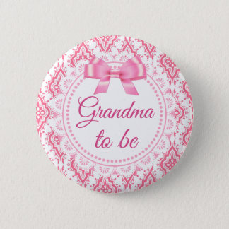 Grandma to be Pink Bow Lacey Baby Shower Button