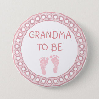 Grandma to be Pink Coral Baby Shower button