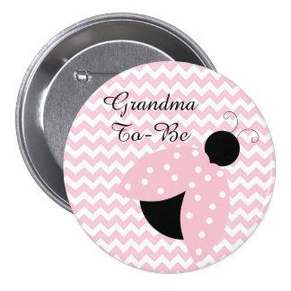 """Grandma To Be"" Pink Ladybug Baby Shower Button"