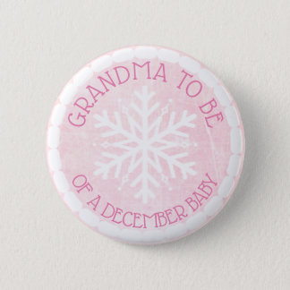 Grandma to be Pink Winter December Baby Button