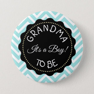 Grandma to  be teal Chevron Baby Shower button