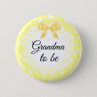 Grandma To Be Yellow Polka Dot Shower Button