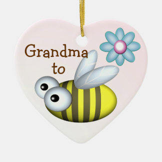 Grandma to Bee/ Expecting announcement Ceramic Heart Ornament