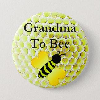 Grandma to Bee Honey Bee Yellow Baby shower Button